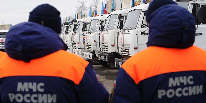 Очередная колонна МЧС России доставила в Донбасс гуманитарную помощь