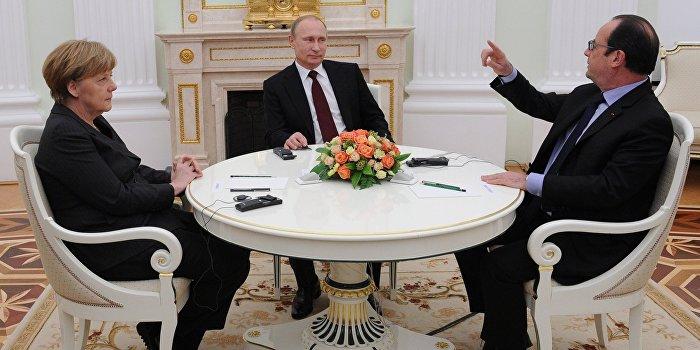 Путин обсудил с Меркель и Олландом обстрелы Донбасса