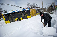 Снегопад парализовал Киевскую область