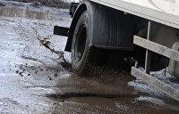 Жители Закарпатья устроили рыбалку в ямах посреди дороги