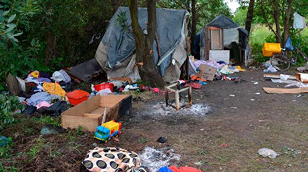 Нацисты из C14 разгромили цыганский лагерь в Киеве