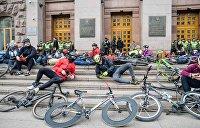 Велосипедисты Киева оккупировали мэрию. Фоторепортаж