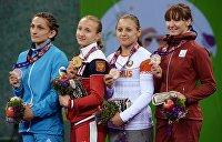 Тройка лидеров медального зачёта II Европейских Игр: Россия, Белоруссия, Украина